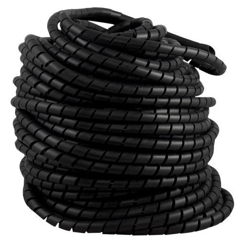 tubo espiral rolo preto 3/4 pol. - organizador de fios de 50 metros