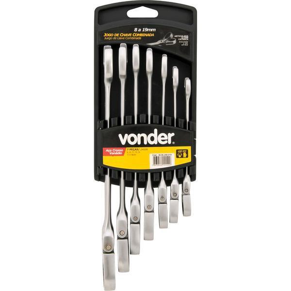Jogo de chaves combinadas com catraca articulada 8 mm a 19 mm com 7 peças VONDER - Imagem zoom