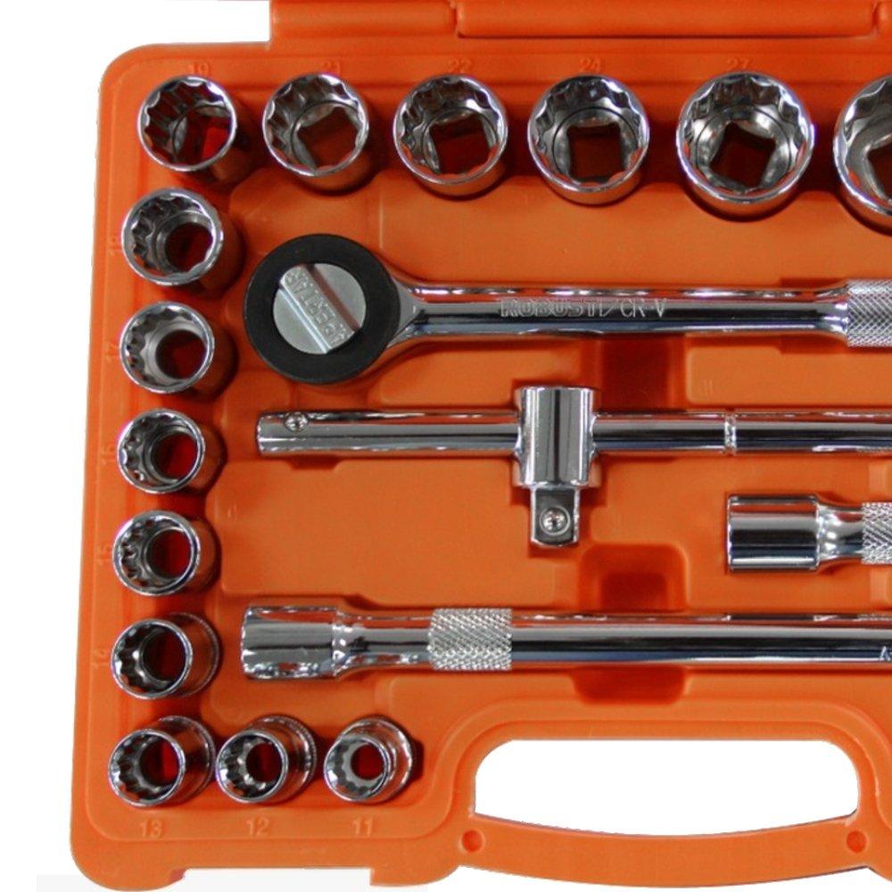 Jogo de Soquetes Estriados 1/2 Pol. 8 a 32mm e Acessórios com 22 Peças - Imagem zoom