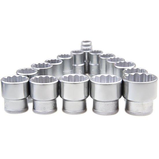 Jogo de Soquetes Estriados com Encaixe de 1/2 Pol. +  Acessórios com 23 Peças  - Imagem zoom