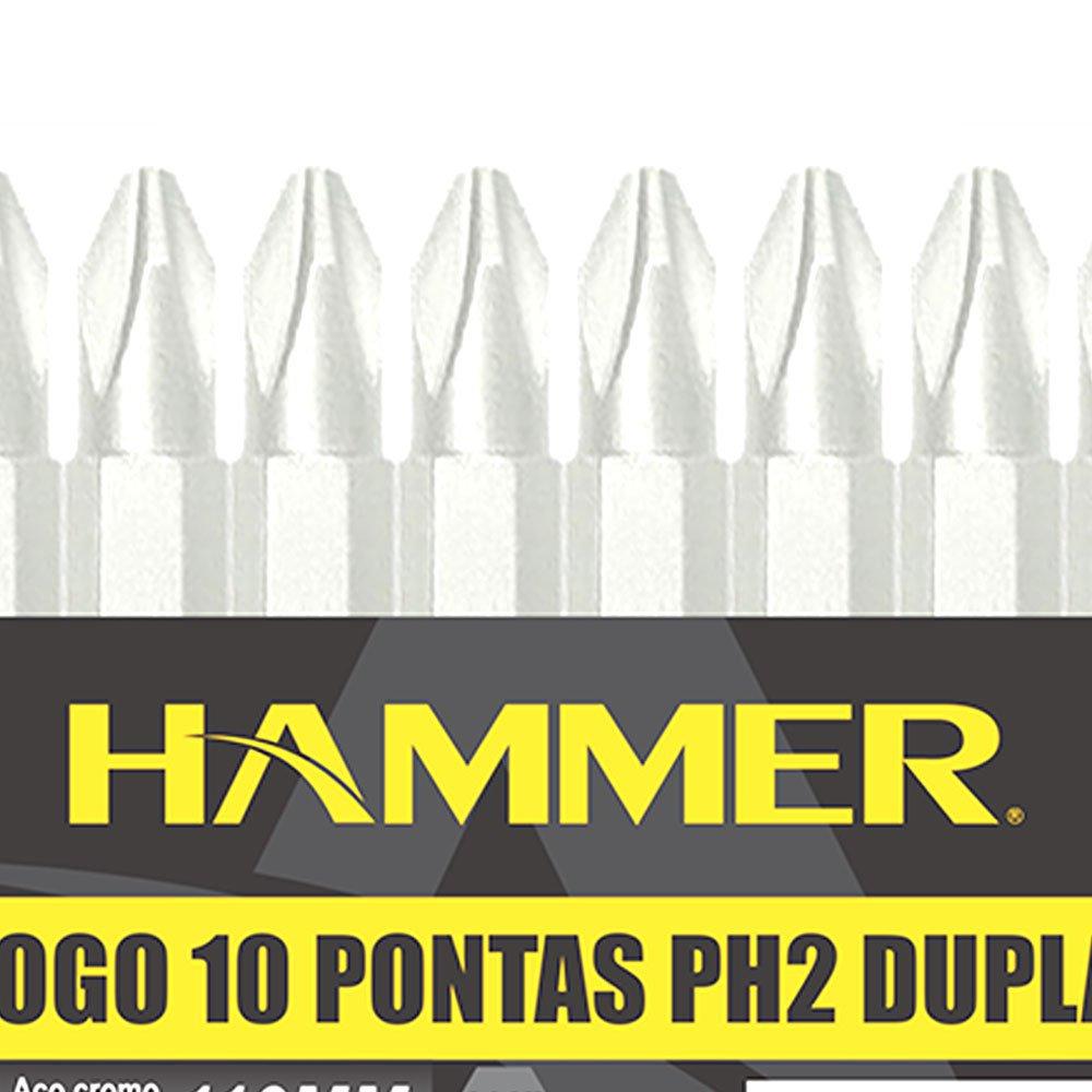 Jogo de 10 Pontas Duplas PH2 110mm com Encaixe de 1/4 Pol. - Imagem zoom