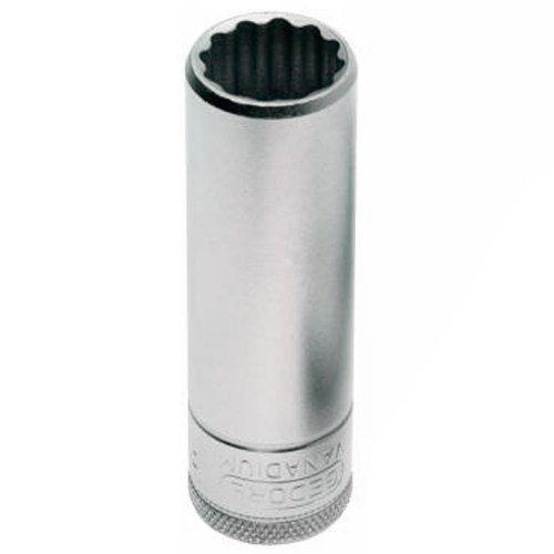 soquete estriado longo de 24mm com encaixe de 1/2 pol.