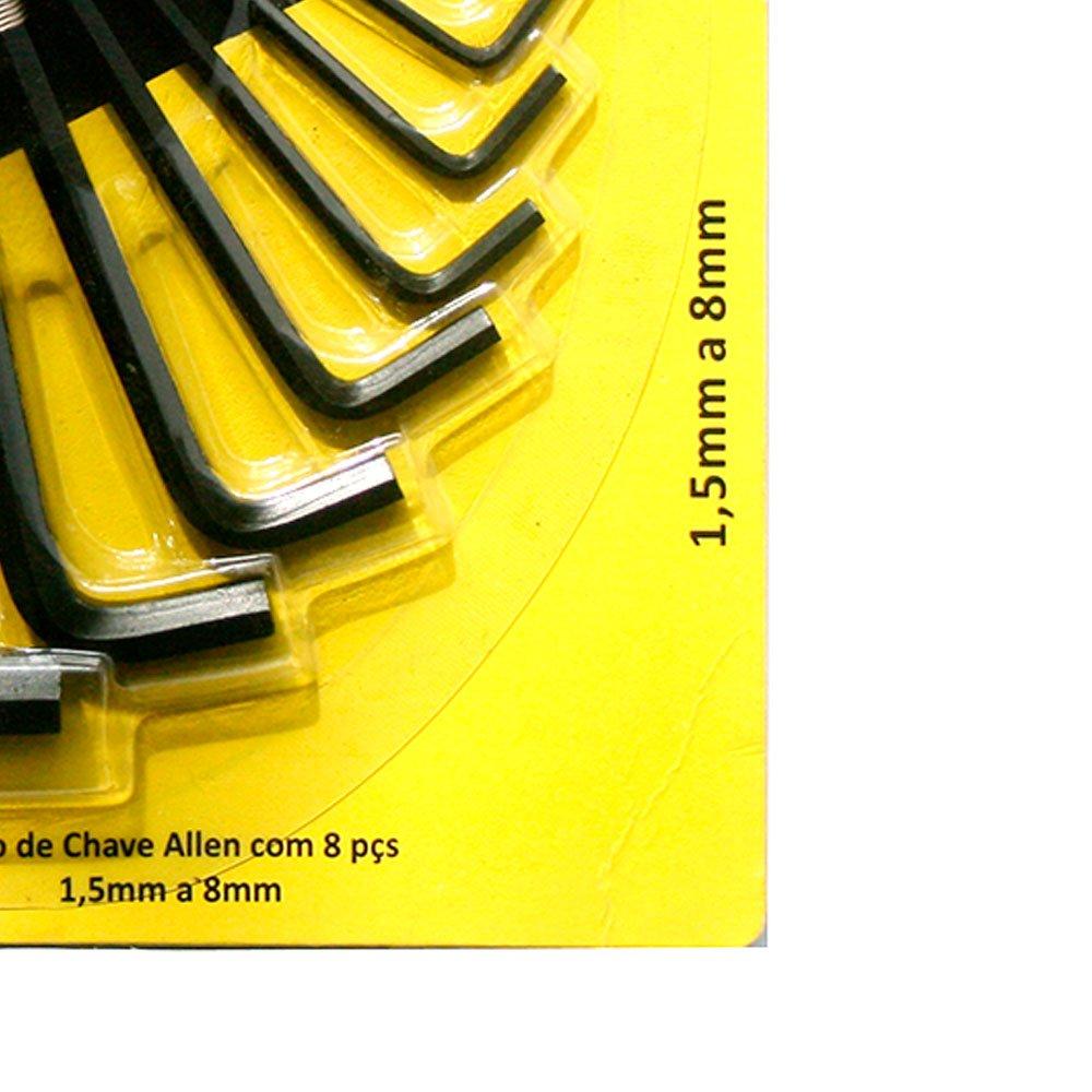 Jogo de Chaves Allen 1,5 a 8mm com 8 Peças - Imagem zoom