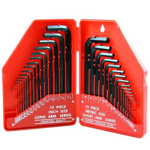 jogo de chaves allen em milímetros e polegadas com 30 peças