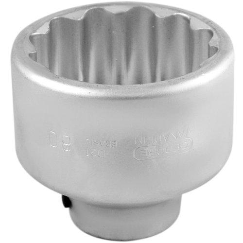 soquete estriado com encaixe de 1 pol. - 80 mm