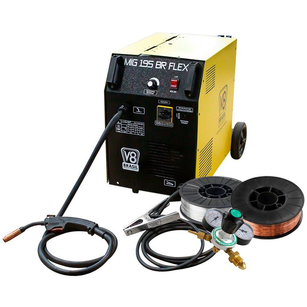 Kit Máquina de Solda V8 Brasil MIG 195BR FLEX 195A  + Arames para Solda sem Gás 0,8mm e 0,6mm V8 Brasil + Regulador Cilindro de Argônio Omega - Imagem zoom