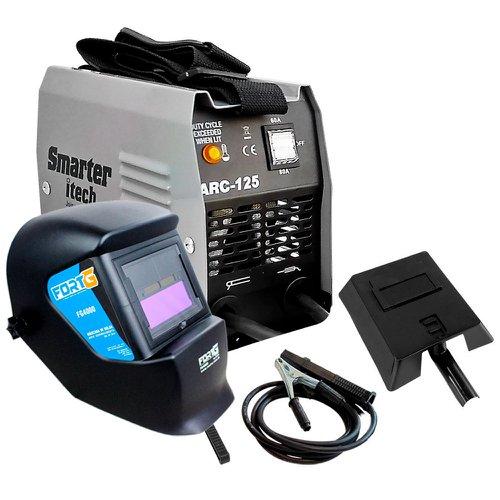 kit máquina transformadora 80a 220v smarter arc125 + máscara de solda  tonalidade 11 fortgpro fg4000 5c4087d16b