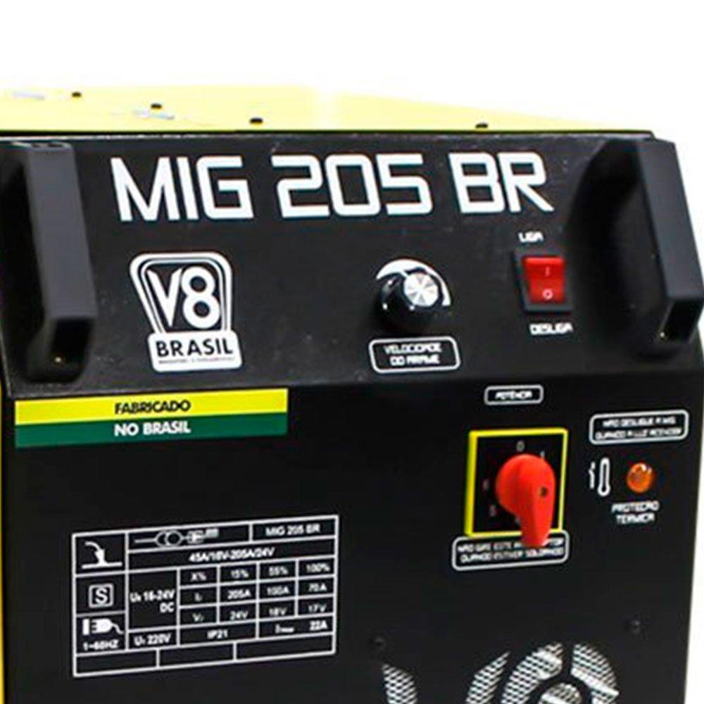 Kit Máquina de Solda Mig 205A 220V Mono com Tocha V8 Brasil-112644 + Esquadro Magnético Triangular para Soldagem 35Kg FG4710 - Imagem zoom