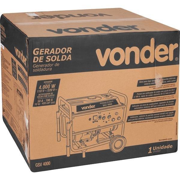GERADOR DE SOLDA GSV4000 4000W/190A VOND - Imagem zoom