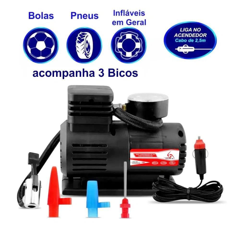 Mini Compressor de Ar Automotivo Portátil 12V com Manômetro - Marca Eurus - Imagem zoom