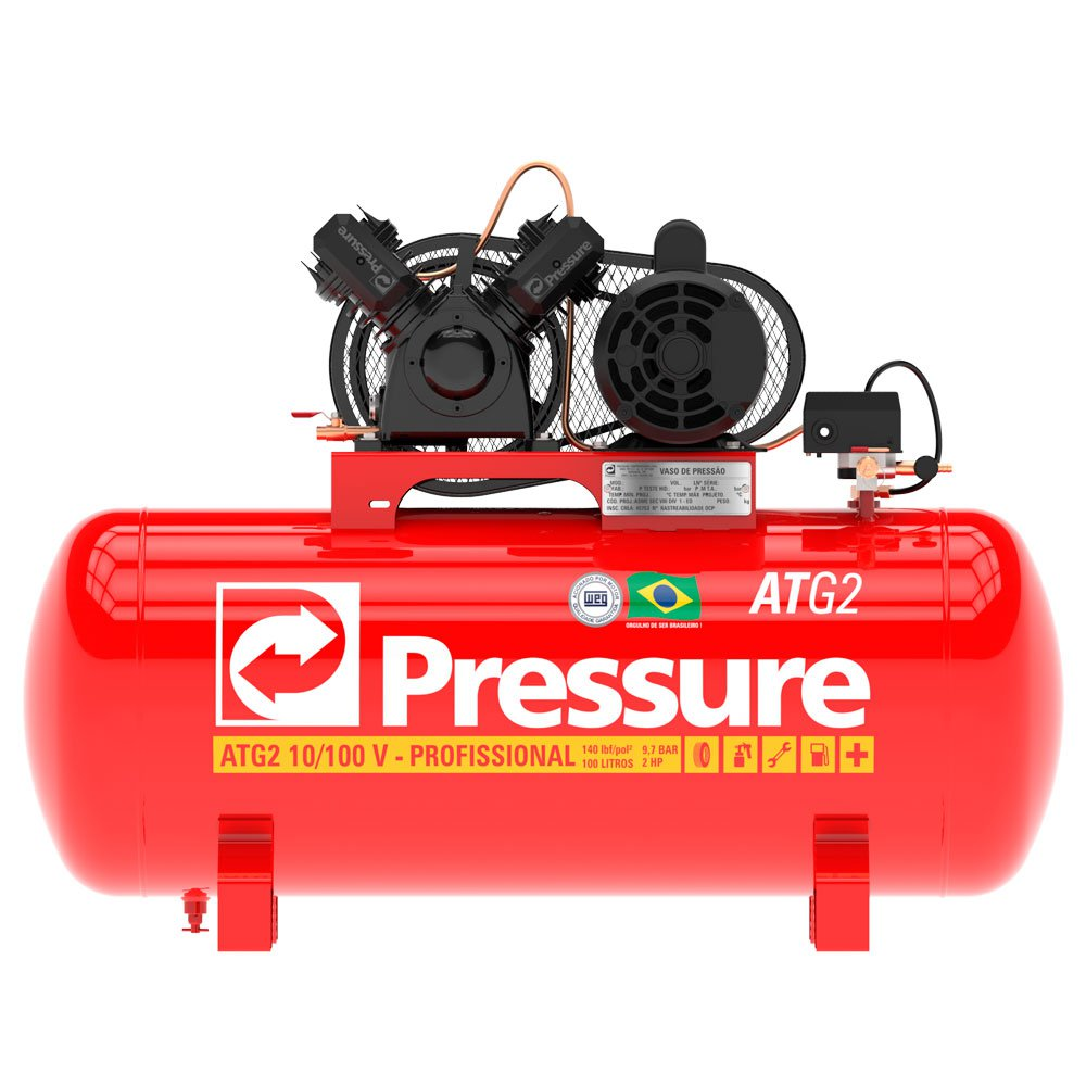 149fd9f9e Compressor de Ar Monofásico 10 Pés 100 Litros Bivolt - PRESSURE-ATG2 ...