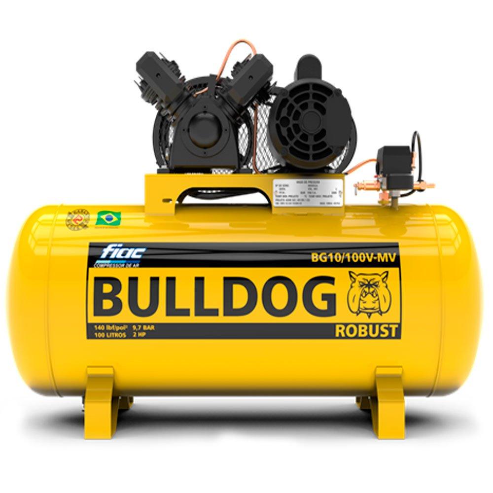 Compressor de Ar Bulldog 2HP 10 Pés 100 Litros Monofásico 110/220V - Imagem zoom