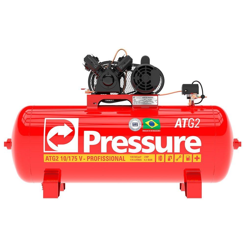Kit Compressor de Ar Monofásico 10 Pés Pressure ATG2-10/175VM-N + Parafusadeira de Impacto FortG Pro FG3300 - Imagem zoom