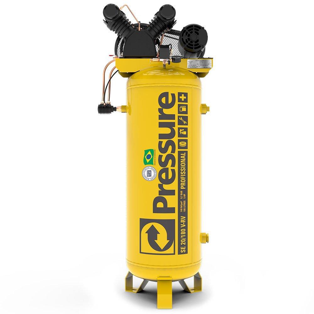 Kit Compressor SE Vertical Pressure SE20/180 20Pés 180L Trifásico + Chave Parafusadeira de Impacto FortG Pro FG3300 1/2 Pol. - Imagem zoom