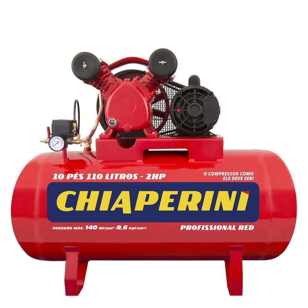 Kit Compressor de Ar Bivolt 10 Pés Chiaperini 10/110RED + Pistola de Pintura HVLP + Mangueira Espiral 15m - Imagem zoom