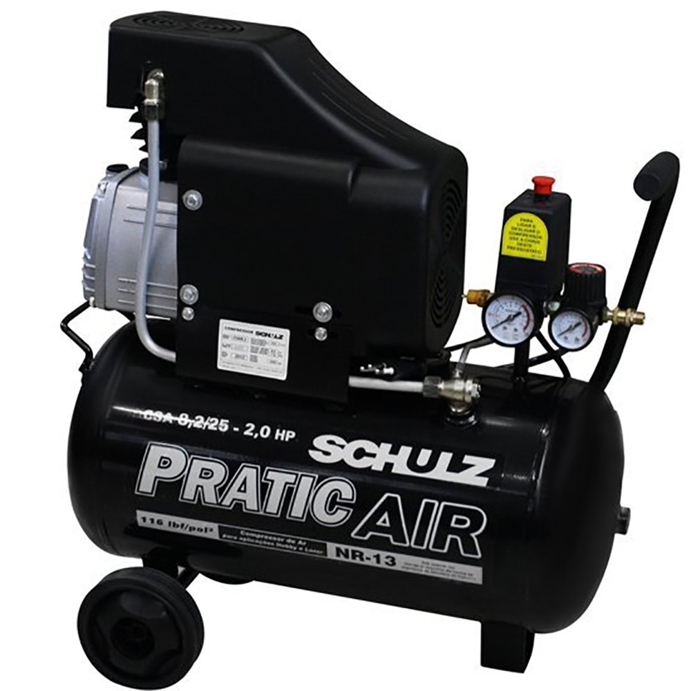Kit Motocompressor 2HP  - SCHULZ-CSA8.25L + Kit Pistola de Pintura - Imagem zoom