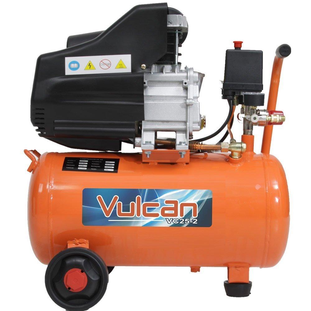 Kit Compressor de Ar 8,0Pés 25L 2,5HP 160L/m com 2 Saídas  - VULCAN-VC25 + Jogo de Pintura com 03 Peças - Imagem zoom