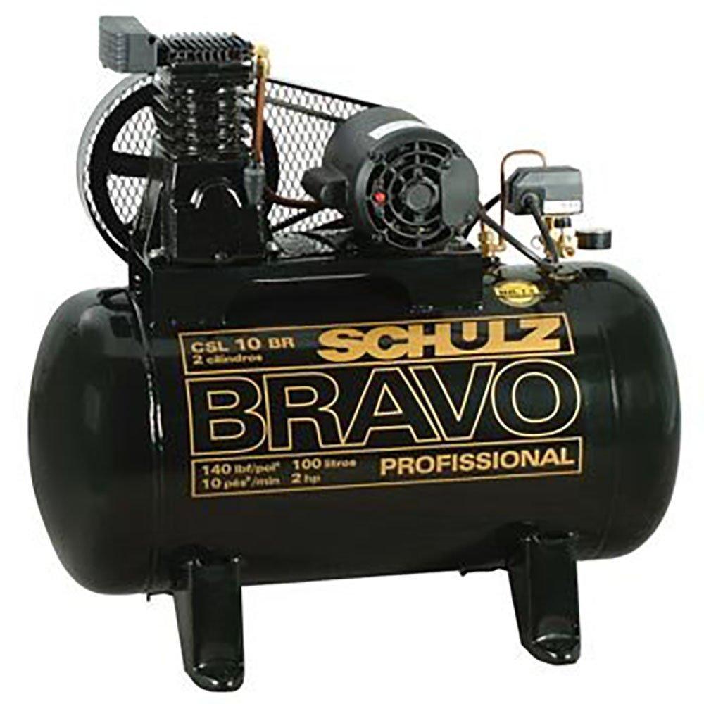 Kit Compressor Bravo Profissional Industrial Schulz MONOCSL10BR + Pistola de Pintura + Mangueira Espiral 15m - Imagem zoom