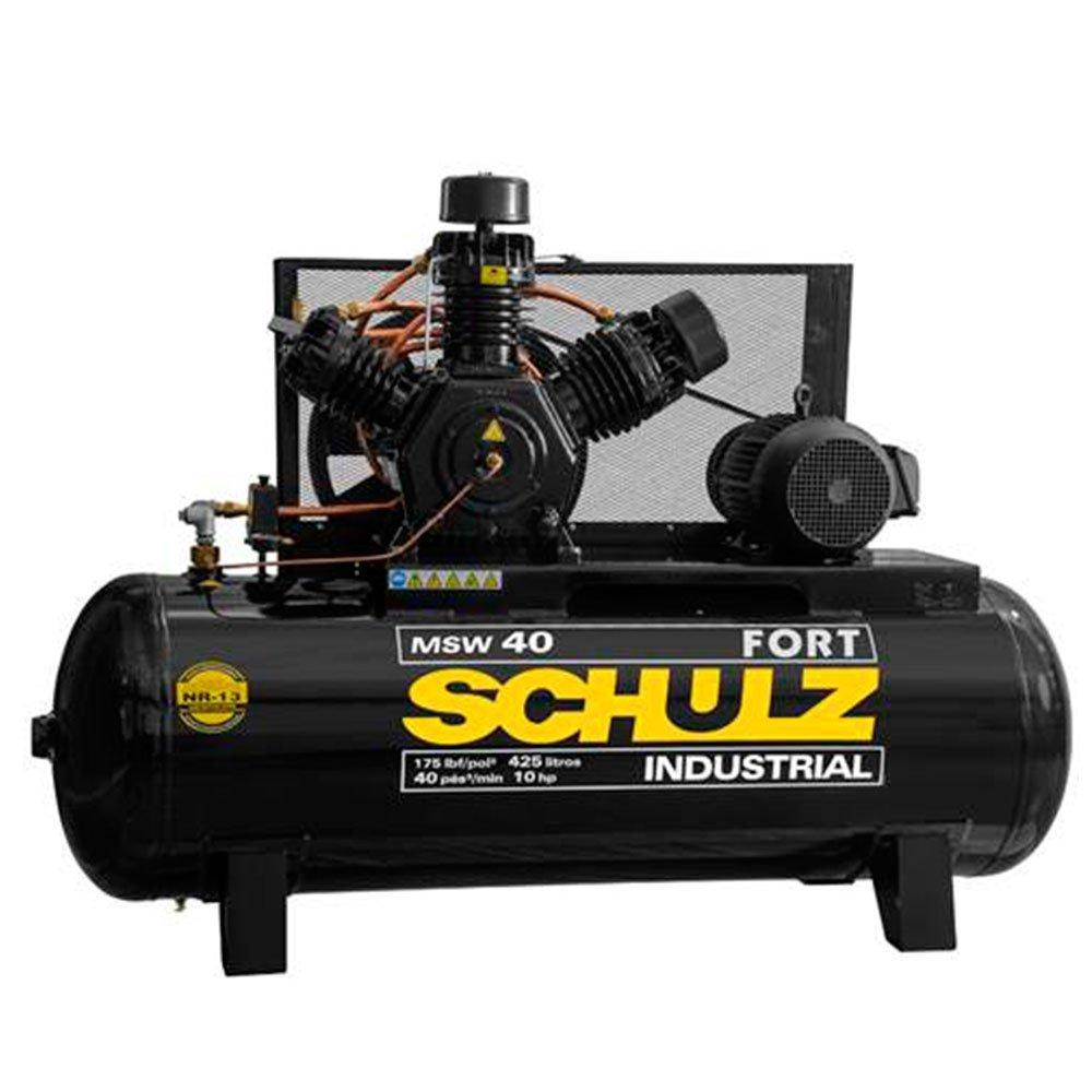 Kit Compressor de Ar Trifásico 40 Pés 220/380V Schulz MSW40/425MTB + Chave de Impacto + Catraca Pneumática + Mangueira 15m - Imagem zoom