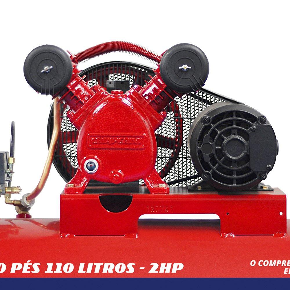 Compressor de Ar Média Pressão Red 10 Pés 140PSI 2HP 110 Litros Trifásico 220/380V - Imagem zoom