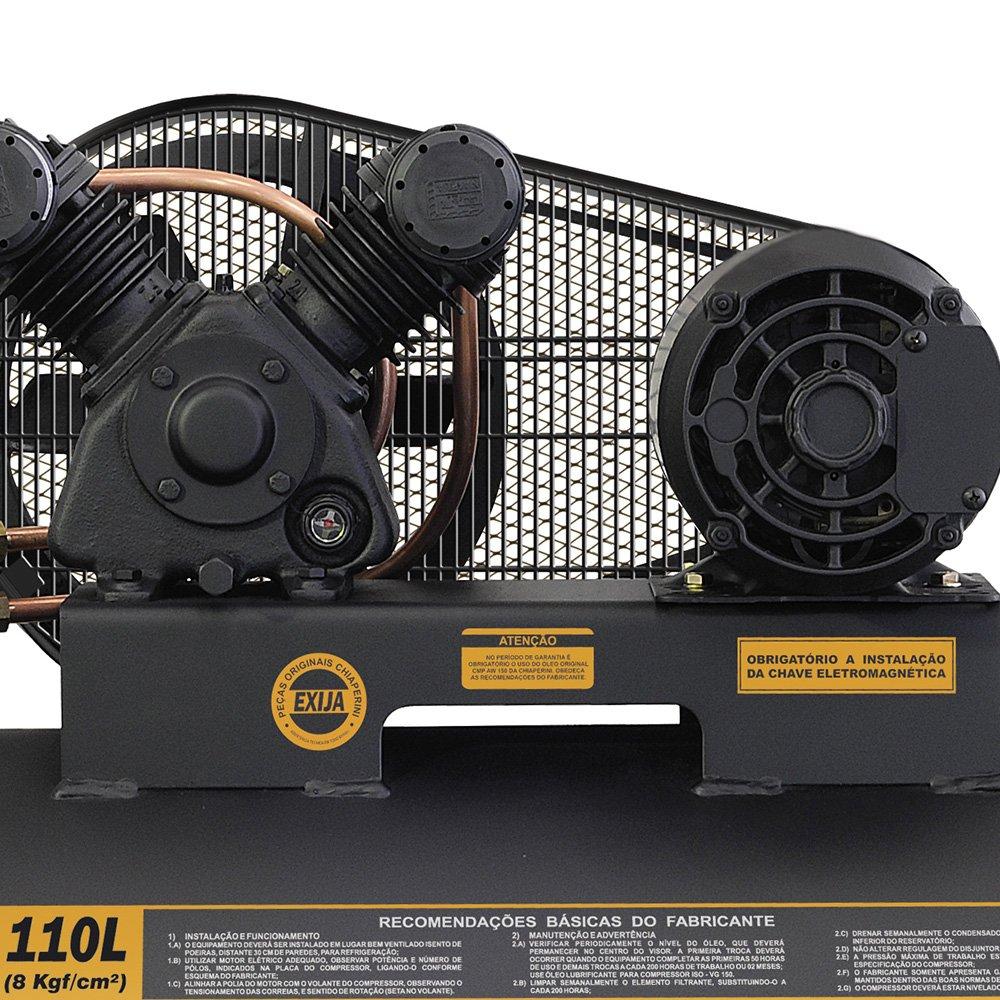 Compressor de Ar Baixa Pressão 10 Pés 120PSI 2HP 110 Litros Trifásico 220/380V Profissional - Imagem zoom