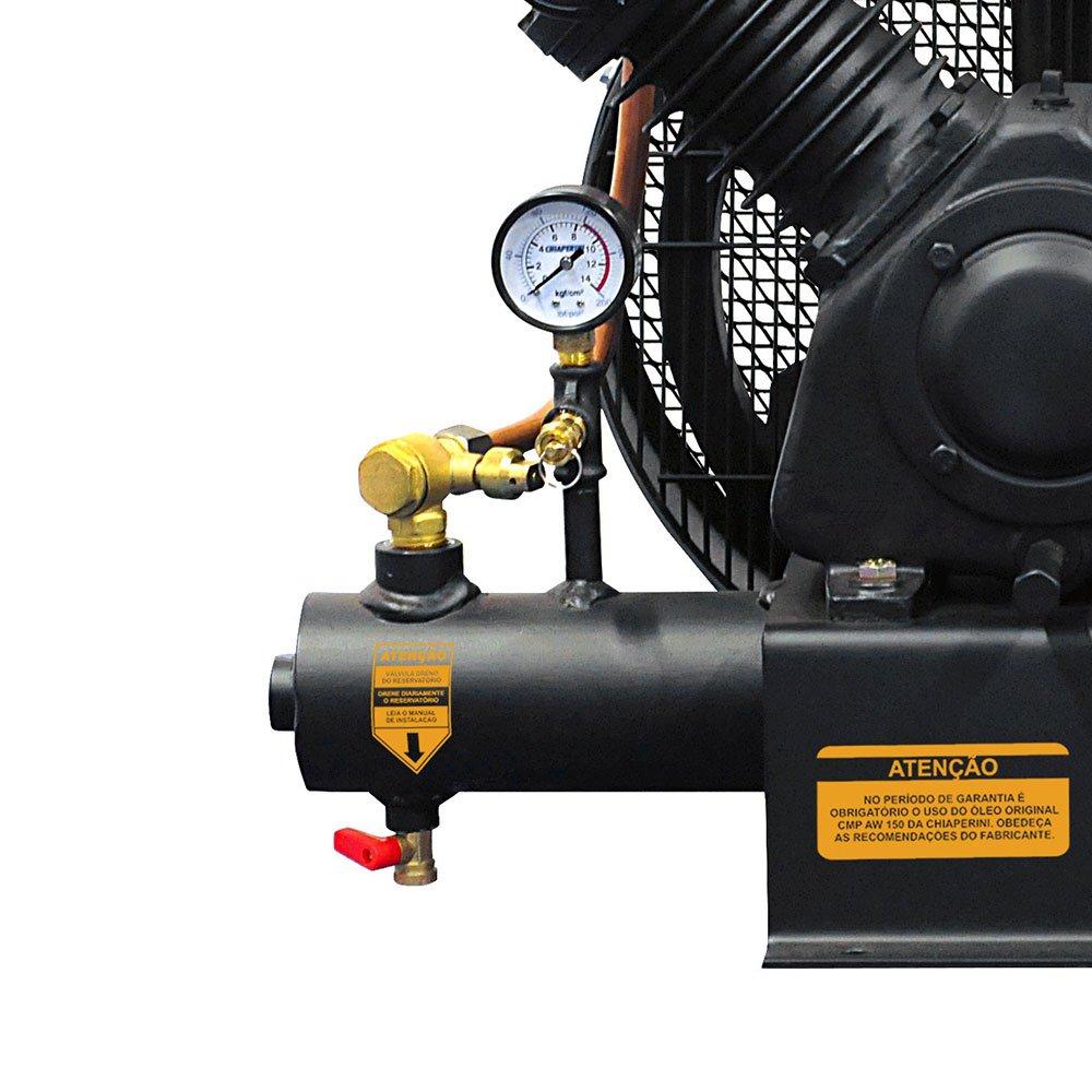 Compressor de Ar Sobre Base 10 Pés 120PSI 2HP Trifásico 220/380V - Imagem zoom
