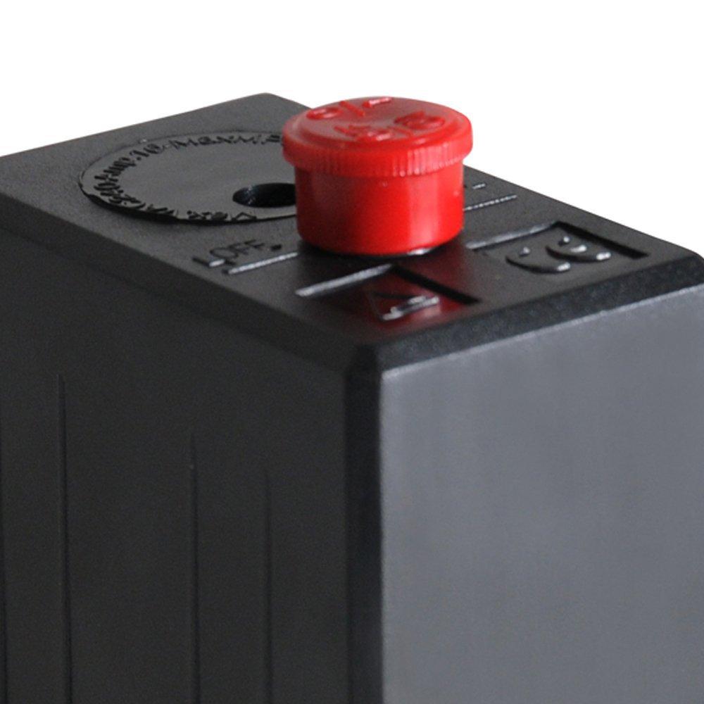 Pressostato 80/120PSI com Chave Botão 1 Via sem Válvula e Manifold para Motocompressor - Imagem zoom