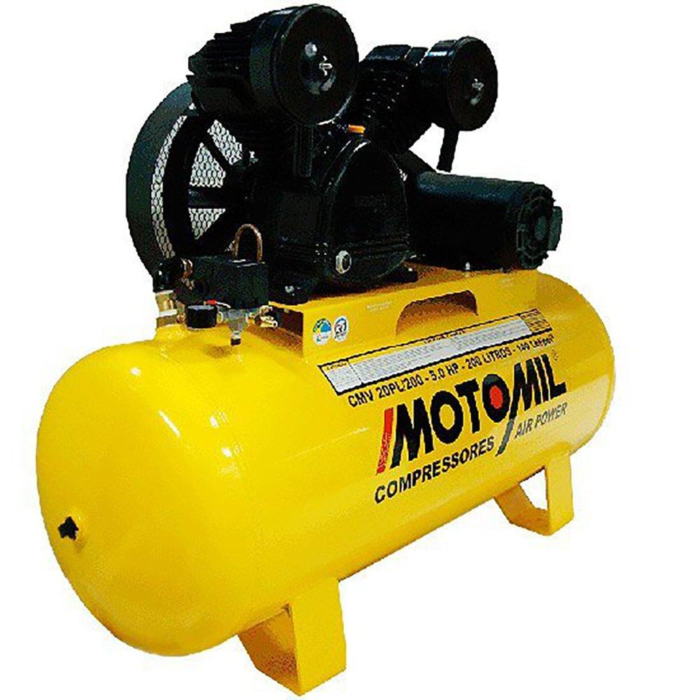 Kit Compressor Trifásico 20 Pés 220/380V Motomil CMV20PL/200 + Jogo 13 peças e Chave Parafusadeira Pneumática + Mangueira de 15 Metros - Imagem zoom