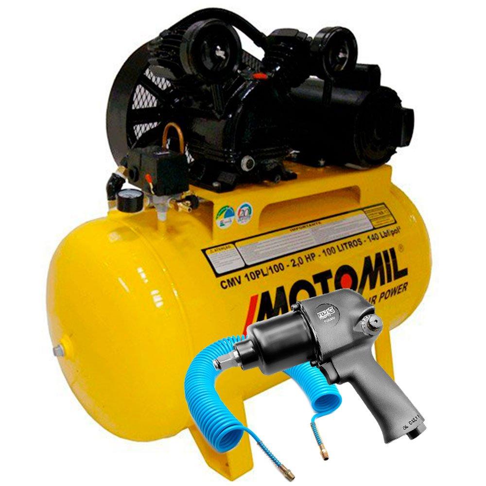 Kit Compressor 10 Pés Monofásico Bivolt Motomil CMV10PL/100 + Chave Parafusadeira Pneumática de 1/2 Pol. + Mangueira 15 Metros - Imagem zoom