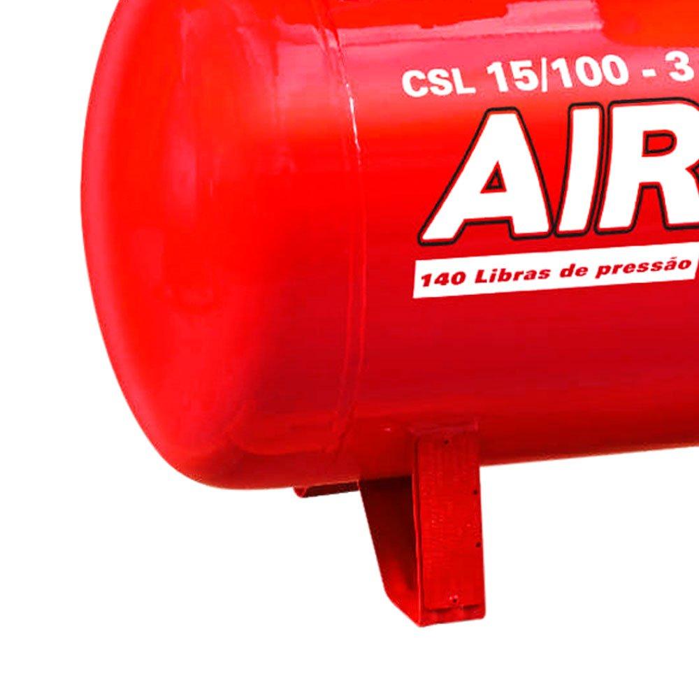 Compressor Air Plus 3HP 15 Pés 100L 140PSI 220/380V Trifásico - Imagem zoom