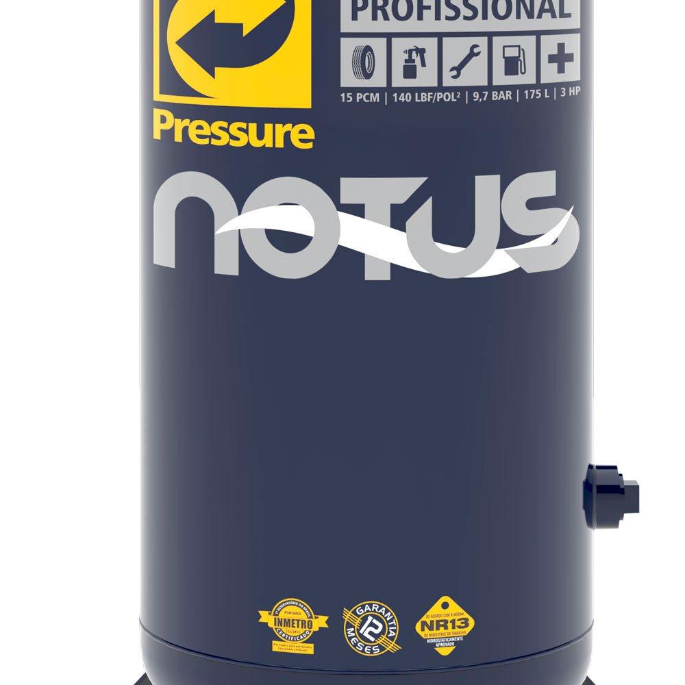 Compressor de Ar Vertical Notus 15 Pés 175L 3HP 110/ 220V Monofásico - Imagem zoom