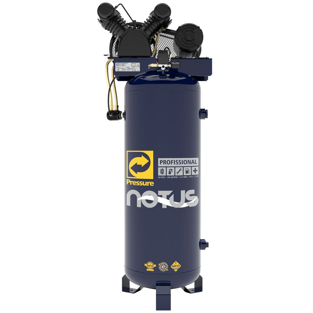 Compressor de Ar Vertical Notus 20 Pés 175 L 5 HP 220/ 440 V Monofásico - Imagem zoom