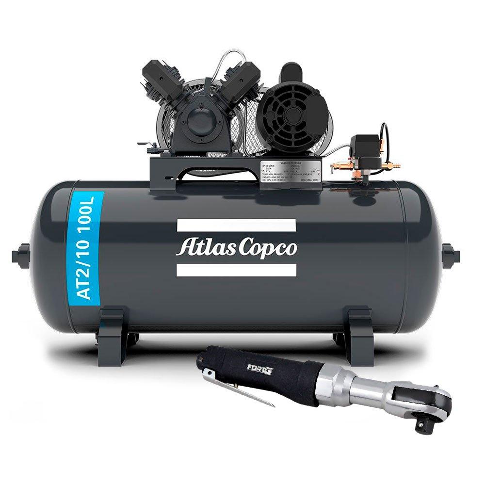 Kit Compressor Média Pressão ATLASCOPCO AT2/10 100L 10 Pés 110/220V + Catraca Reversível Pneumática  - Imagem zoom
