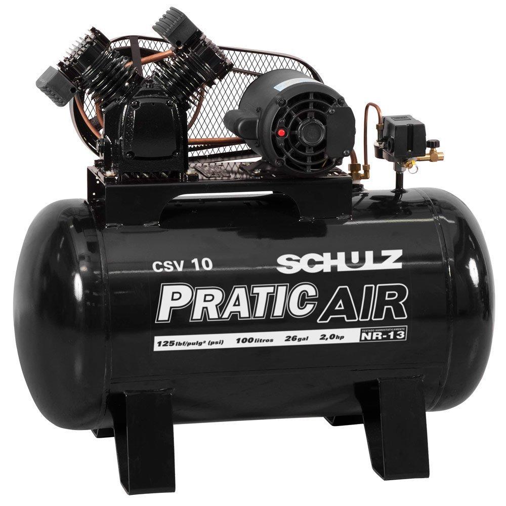 Kit Compressor de Ar Pratic Air SCHULZ CSV10/100 Mono 2HP 10 Pés  + Kit Pistola de Pintura 600ml com 2 Jogos de Reparo e Bico - Imagem zoom