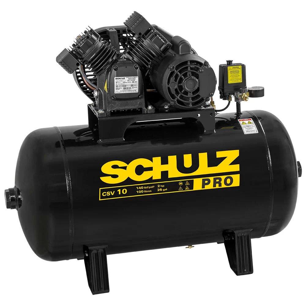 Kit Compressor de Ar SCHULZ PROCSV10/100 10 Pés 100L 2HP 140PSI Mono + Kit Pistola de Pintura 600ml com 2 Jogos de Reparo e Bico 1.4mm - Imagem zoom