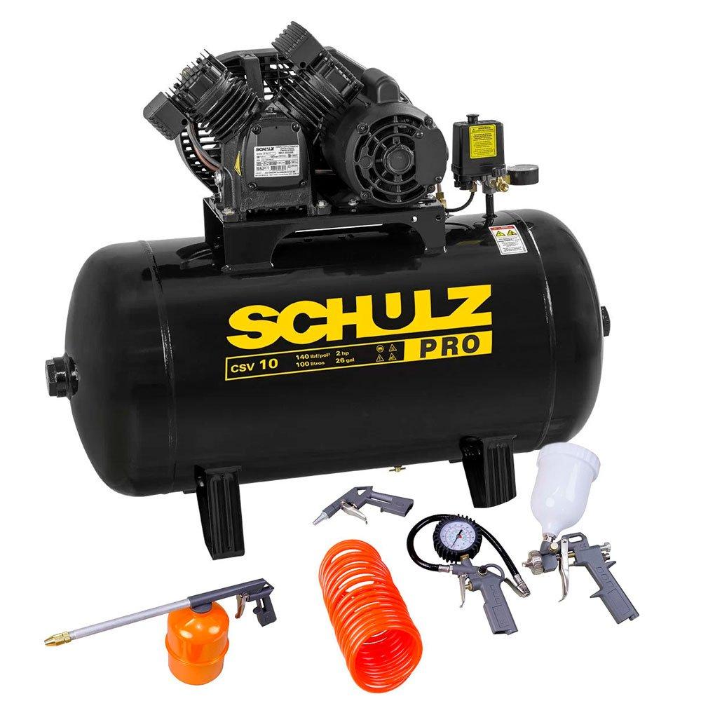 Kit Compressor de Ar SCHULZ PROCSV10/100  10 Pés 100L Mono +  Kit de Pintura FORTGPRO FG8670 5 Peças - Imagem zoom