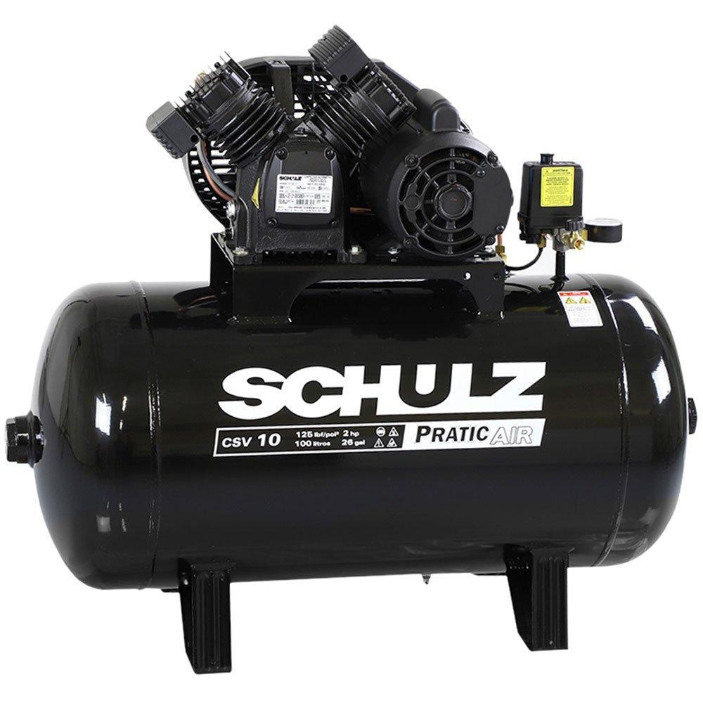 Kit Compressor SCHULZ-CSV10/100 Mono 10 Pés 125 Libras 220V + 2 Óleos Lubrificante 1 Litro  - Imagem zoom