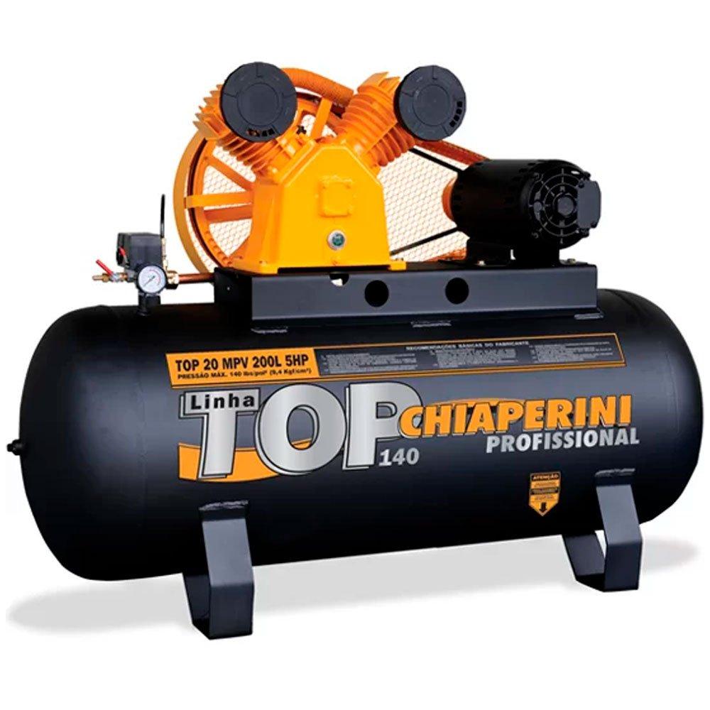 Kit Compressor CHIAPERINI-TOP20TRI 200 Litros Motor 5HP Trifásico + 2 Óleos Lubrificante 1 Litro  - Imagem zoom