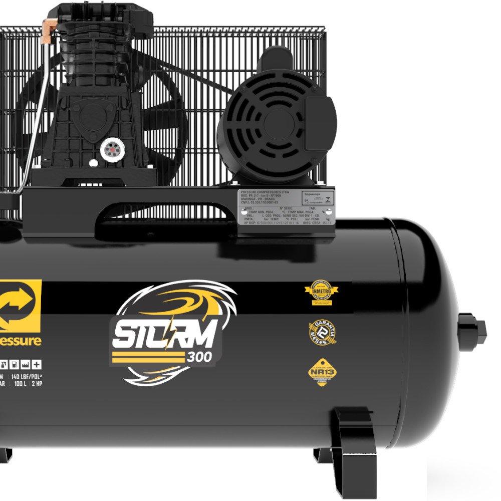 Compressor de Ar 10 Pés 2HP 100 Litros 110/220V Monofásico Storm-300 - Imagem zoom