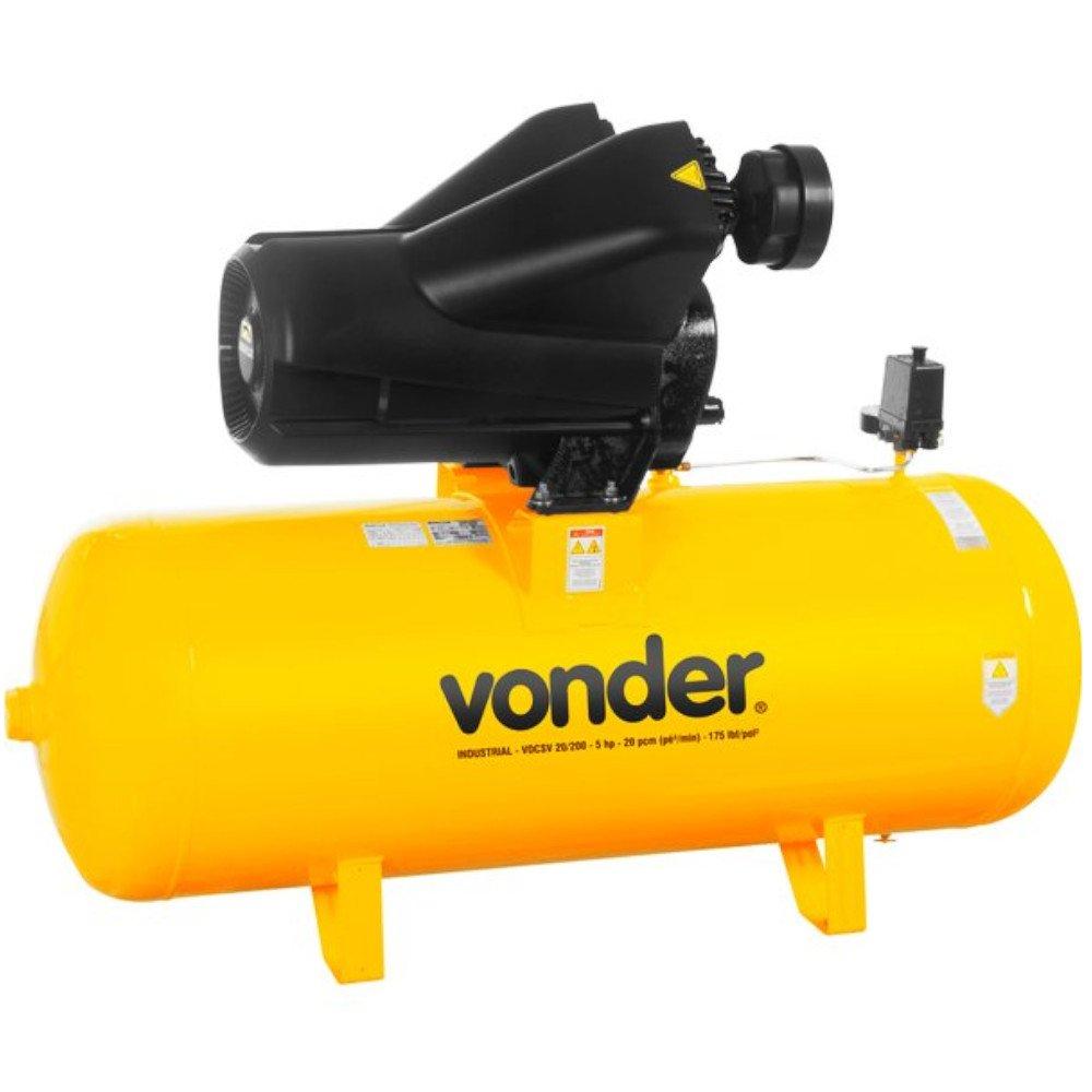 Compressor de Ar 20 Pés 5CV 220/380V Trifásico VDCSV 20/200 - Imagem zoom
