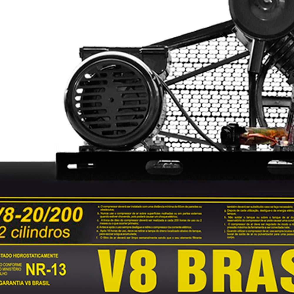 Compressor de Ar 20 Pés 175PSI 5HP Monofásico 200 Litros - Imagem zoom
