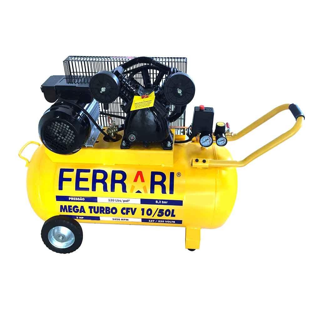 Compressor de Ar Mega Turbo 2HP 50 Litros Bivolt - Imagem zoom