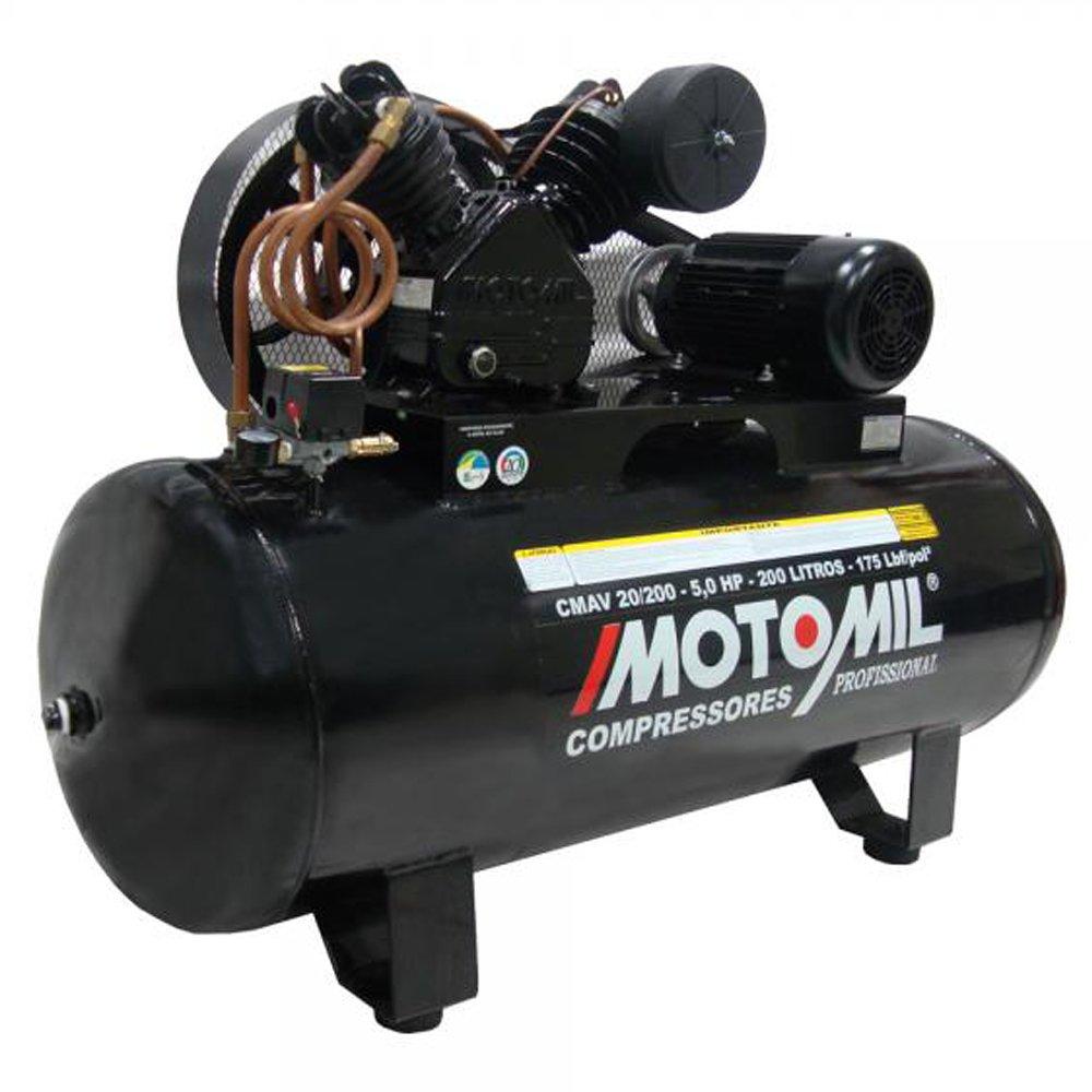 Compressor de Ar 20 pés 5,0 HP 200 Litros Trifásico 220/380V Alta Pressão - Imagem zoom
