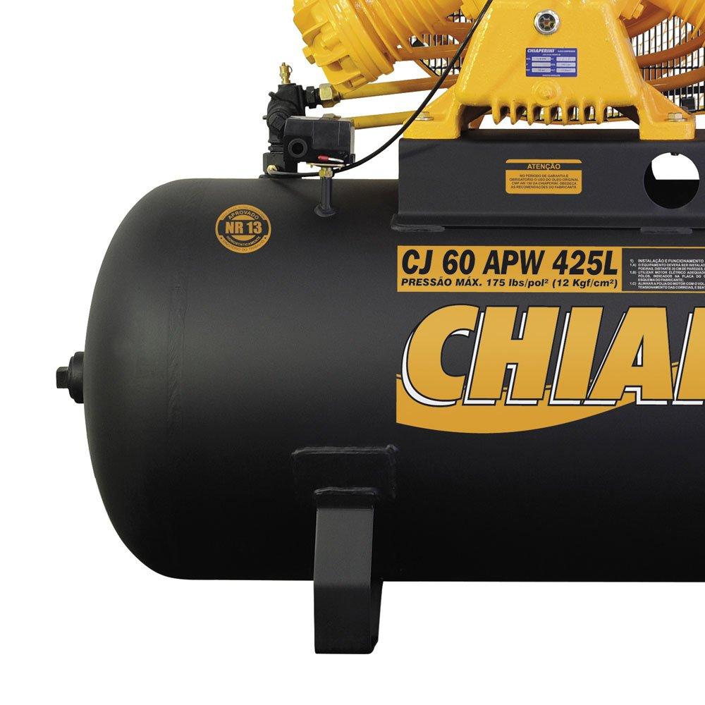 Compressor de Ar Industrial Intermitente Trifásico 60 Pés 425 Litros - Imagem zoom