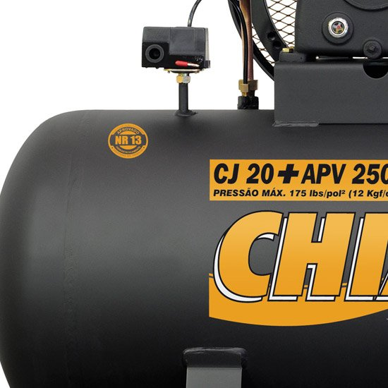 Compressor de Ar 20 Pés 250 Litros Trifásico Alta Pressão Industrial 20+APV 20/250L - Imagem zoom