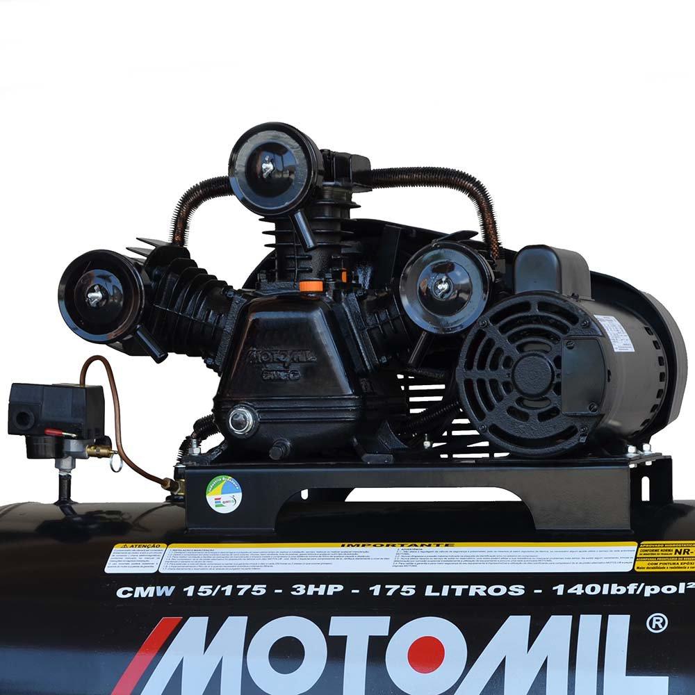 Compressor de Ar Profissional 15 Pés 3,0HP 175 Litros Bivolt 110/220V Mono - Imagem zoom