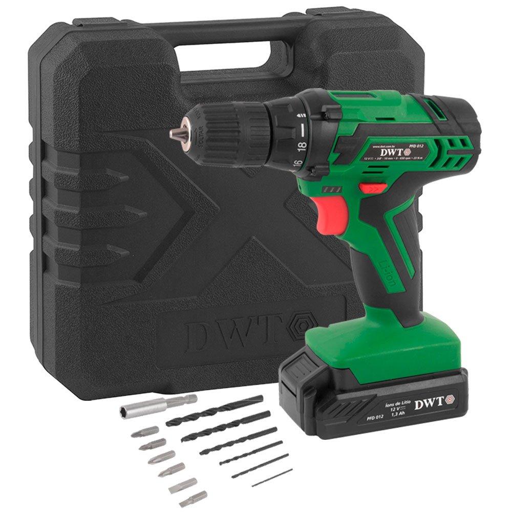 Parafusadeira/Furadeira 3/8 Pol. com Bateria 12V + Carregador Bivolt + Maleta + Acessórios - Imagem zoom