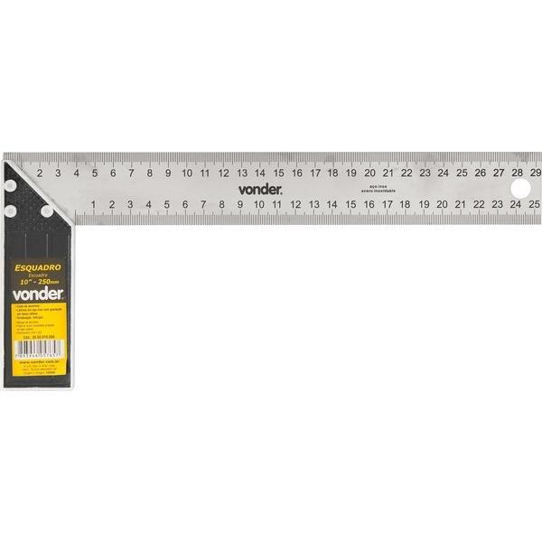 Esquadro para carpinteiro 10 Pol. com cabo de alumínio VONDER - Imagem zoom