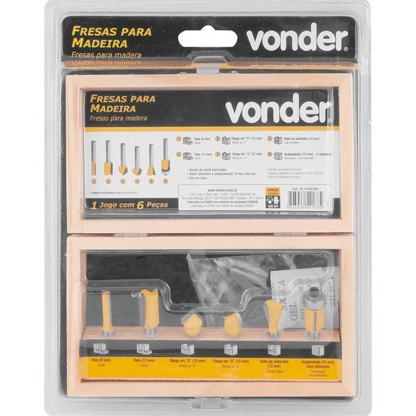 Jogo de fresas para madeira com 6 peças VONDER - Imagem zoom