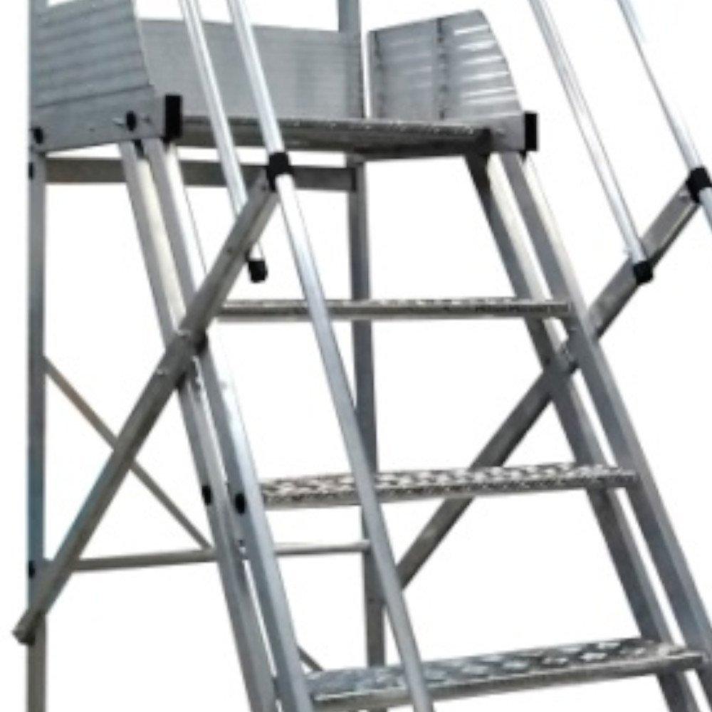 Escada Plataforma Trepadeira 1,75m 6 Degraus com 2 Rodas Traseiras - Imagem zoom
